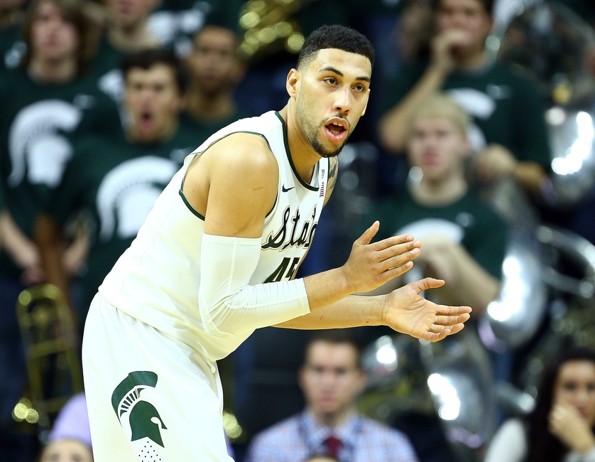 Dec 12, 2015; East Lansing, MI, USA; Michigan State Spartans Guard Denzel  Valentine (45) Reacts To A Play Against The Florida Gators During The 2nd  Half Of ...